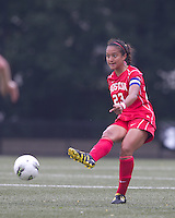 Boston University defender Lina Cords (23) passes the ball. After 2 complete overtime periods, Boston College tied Boston University, 1-1, after 2 overtime periods at Newton Soccer Field, August 19, 2011.
