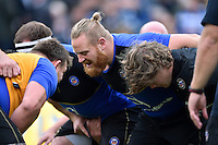 Ross Batty and the rest of the Bath Rugby forwards pack down for a scrum during the pre-match warm-up. Aviva Premiership match, between Bath Rugby and Exeter Chiefs on October 17, 2015 at the Recreation Ground in Bath, England. Photo by: Patrick Khachfe / Onside Images