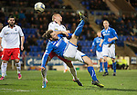 St Johnstone v Ross County...15.03.14    SPFL<br /> Stevie May's overhead kick is saved by Mark Brown<br /> Picture by Graeme Hart.<br /> Copyright Perthshire Picture Agency<br /> Tel: 01738 623350  Mobile: 07990 594431