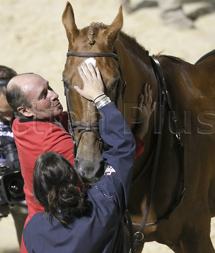 10.10.2010 Lexington USA Kentucky Horse Park World Equestrian Games World Equestrian Games here Individual finals. Picture shows Gold medal winner Philipp Lejeune BEL kissing his horse.