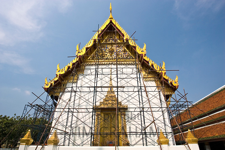 Scaffolding for refurbishment at The Grand Palace and Temple complex, Bangkok, Thailand