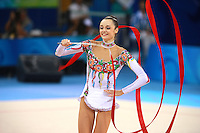 August 23, 2008; Beijing, China; Rhythmic gymnast Anna Bessonova of Ukraine performs with ribbon on way to winning bronze in the All-Around final at 2008 Beijing Olympics..