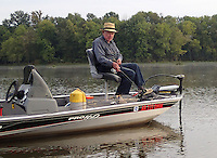 NWA Democrat-Gazette/FLIP PUTTHOFF <br /> Bob Winkleman, 83, trolls for crappie Sept. 24 2015 at Lake Sequoyah. He has fished the lake since it was built, and fished in the White River before that.