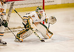 20 January 2017: University of Vermont Catamount Goaltender Stefanos Lekkas, a Freshman from Elburn, IL, in third period action against the University of Connecticut Huskies at Gutterson Fieldhouse in Burlington, Vermont. The Catamounts held onto their lead throughout the game to defeat the Huskies 5-4 in Hockey East play. Mandatory Credit: Ed Wolfstein Photo *** RAW (NEF) Image File Available ***