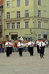Europe, Estonia, Tallinn. A marching band in the town square marketplace of Tallinn.
