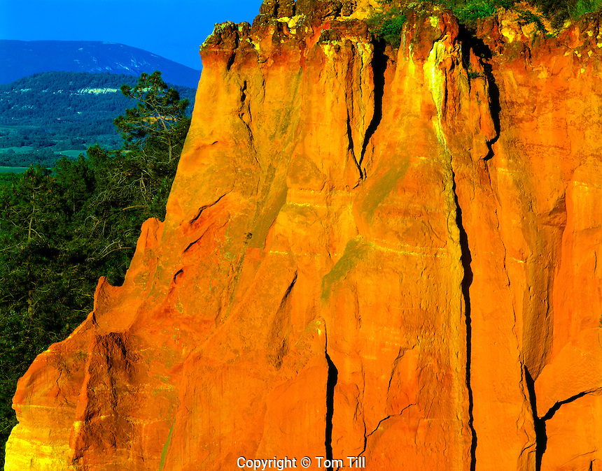 Red Cliffs in Rousillon Provence Regional Natural Park Provence, France  Near Luberon Mountains  May