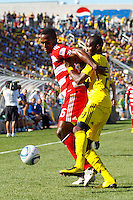 28 AUGUST 2010:  FC Dallas' Atiba Harris (16) and Kenny Schoeni of the Columbus Crew (26) during MLS soccer game between FC Dallas vs Columbus Crew at Crew Stadium in Columbus, Ohio on August 28, 2010.