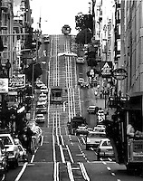 View looking up Powell street in San Francisco, Calif.(1982 photo by Ron Riesterer)