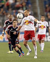 New York Red Bulls substitute midfielder Joel Lindpere (20) traps the ball. Despite a red-card man advantage, in a Major League Soccer (MLS) match, the New England Revolution tied New York Red Bulls, 1-1, at Gillette Stadium on September 22, 2012.