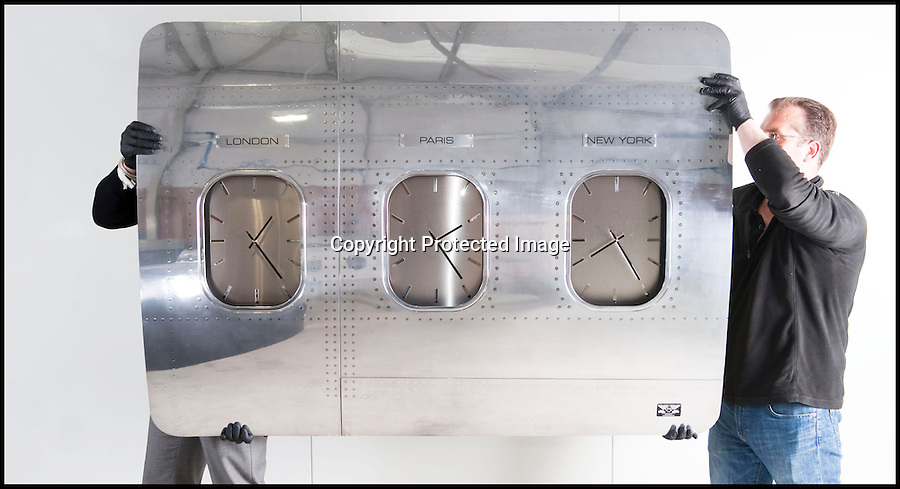 BNPS.co.uk (01202 558833)<br /> Pic: PhilYeomans/BNPS<br /> <br /> Bespoke furniture for the Jet Set.<br /> <br /> &pound;3,000 International clocks made from the fusulage of a 747.<br /> <br /> Two brother's have come up with ultimate in aircraft recycling - turning unwanted bits of redundant airliners into highly desirable - and highly expensive - bespoke items of furniture.<br /> <br /> Brett and Shane Armstrong from Kent scour the worlds aircraft graveyards looking for interesting items they can rescue from sad decay and with a lot of imagination and elbow grease convert into one-off gleaming items of furniture costing thousands of pounds.