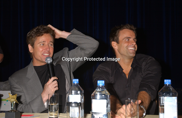 Michael E Knight and Cameron Mathison                               ..at the All My Children Fan Club Luncheon on August 10, 2003 at the Marriott Marquis in New York.                           Photo by Robin Platzer, Twin Images