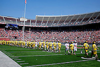 The Ohio State Buckeyes and Michigan Wolverines shake hands after the NCAA lacrosse game at Ohio Stadium in Columbus, Saturday morning, April 12, 2014. The Ohio State Buckeyes defeated the Michigan Wolverines 15 - 6. (The Columbus Dispatch / Eamon Queeney)