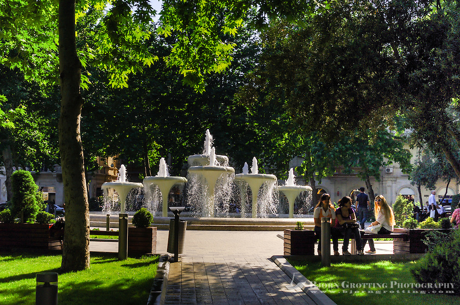 Azerbaijan, Baku. Green park and fountains.