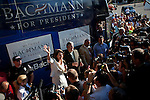 Republican presidential candidate Michele Bachmann celebrates her win at the Straw Poll in Ames, Iowa, August 13, 2011.