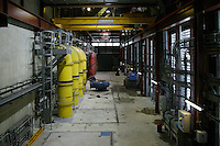 Interior of the new New Abbey Mills Pumping Station (Station F) designed by Allies and Morrison. The pumps raise the sewage in the London sewerage system between the two Low Level Sewers and the Northern Outfall Sewer, which was built in the 1860s to carry the increasing amount of sewage produced in London away from the centre of the city.
