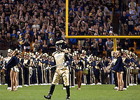 The drum major for the Pitt Band performs before the game.The Miami Hurricanes defeated the Pittsburgh Panthers 31-3 at Heinz Field, Pittsburgh, Pennsylvania on September 23, 2010.