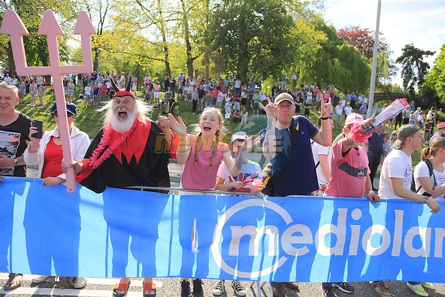Huge crowds including Didi the Devil on the finishing circuit in Nijmegen during Stage 2 of the 2016 Giro d'Italia running 190km from Arnhem to Nijmegen, The Nethrerlands. 7th May 2016.<br /> Picture: Eoin Clarke | Newsfile<br /> <br /> <br /> All photos usage must carry mandatory copyright credit (&copy; Newsfile | Eoin Clarke)