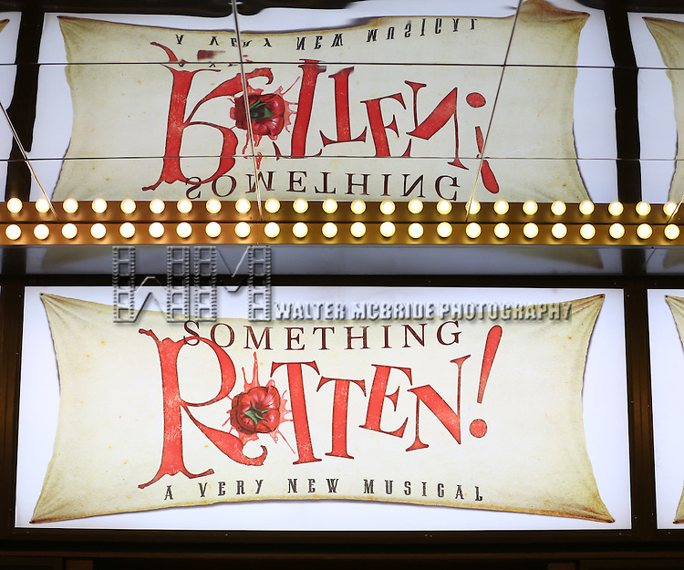 Theatre Marquee for the Broadway Opening Night of 'Something Rotten' at the St. James Theatre on April 22, 2015 in New York City.