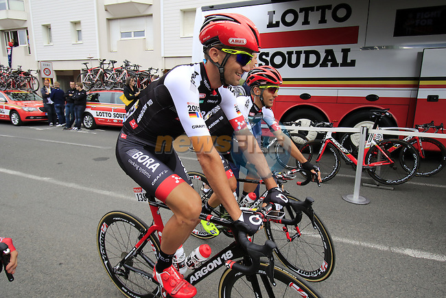 Andreas Schillinger (GER) Bora-Argon 18 makes his way to sign on before the start of Stage 3 of the 2016 Tour de France, running 223.5km from Granville to Angers, France . 4th July 2016.<br /> Picture: Eoin Clarke | Newsfile<br /> <br /> <br /> All photos usage must carry mandatory copyright credit (&copy; Newsfile | Eoin Clarke)
