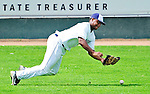 25 July 2010: Vermont Lake Monsters outfielder Kevin Keyes in action against the Tri-City ValleyCats at Centennial Field in Burlington, Vermont. The ValleyCats came from behind to defeat the Lake Monsters 10-8 in NY Penn League action. Mandatory Credit: Ed Wolfstein Photo