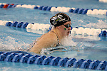 19 February 2016: Notre Dame's Genevieve Bradford competes in the 100 Breaststroke preliminary heat 2. The 2016 Atlantic Coast Conference Swimming and Diving Championships were held at the Greensboro Aquatic Center in Greensboro, North Carolina from February 17-27, 2016.
