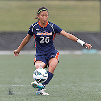 Pepperdine University defender Michelle Pao (26) passes the ball. Pepperdine University defeated Boston College,1-0, at Soldiers Field Soccer Stadium, on September 29, 2012.