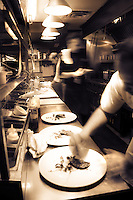 The fast paced kitchen of Restaurant Eighteen.