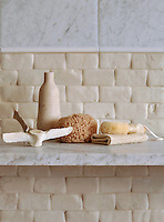 Giovanni Barbieri Timeworn 2 x 4 in. bricks in Bianco Antico with Paperwhite Pencil Moldings, and 15 cm x 30 cm bricks Bianco Carrara with Timeworn finish