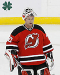 Mar 17, 2009; Newark, NJ, USA; New Jersey Devils goalie Martin Brodeur (30) during the first period of the St. Patrick's Day game against the Chicago Blackhawks at the Prudential Center.