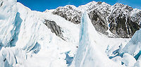 Ice blocks on Franz Josef Glacier, Westland National Park, West Coast, World Heritage Area, South Westland, New Zealand