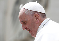 Papa Francesco al termine dell'udienza generale del mercoledi' in Piazza San Pietro, Citta' del Vaticano, 26 aprile, 2017.<br /> Pope Francis leaves at the end of his weekly general audience in St. Peter's Squareat the Vatican, on April 26, 2017.<br /> UPDATE IMAGES PRESS/Isabella Bonotto<br /> <br /> STRICTLY ONLY FOR EDITORIAL USE