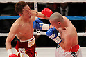 (L to R) Takahiro Aoh (JPN), Humberto Gutierrez (Mex), April 8, 2011 - Boxing : WBC super feather weight title bout at Kobe World hall, Hyogo, Japan. Takahiro Aoh won by KO after the fight was stopped in the forth round. (Photo by Yusuke Nakanishi/AFLO) [1090]..