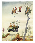(Officers in a jeep flung into the air salute a soldier in a tree)