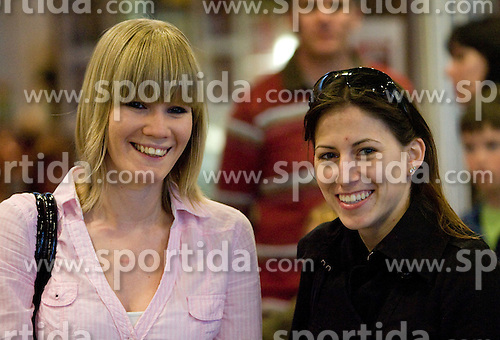 Nina Rizvic and Moja Rode at reception of third placed Saso Bertoncelj at European Championships in artistic gymnastics in Birmingham 2010, on April 26, 2010, at Airport Joze Pucnik, Brnik, Slovenia. (Photo by Vid Ponikvar / Sportida)