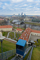Cable car coming from Neris river to the Castle Complex, Vilnius, Lithuania