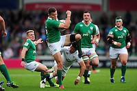 Jacob Stockdale of Ireland U20 claims the ball. World Rugby U20 Championship Final between England U20 and Ireland U20 on June 25, 2016 at the AJ Bell Stadium in Manchester, England. Photo by: Patrick Khachfe / Onside Images