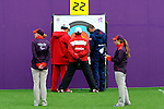 LONDON, ENGLAND /08/2012 - Linda Gagnon observes the scoring during during the Women's Individual Compound Ranking Round at the London 2012 Paralympic Games at the Royal Artillery Barracks. (Photo: Phillip MacCallum/Canadian Paralympic Committee)