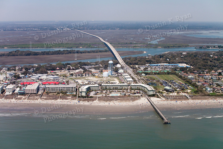 Island Of palms beach pier and condos South Carolina aerial photography
