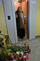 Moscow, Russia, 08/10/2006.&amp;#xA;A woman stands in the lift in which Novaya Gazyeta journalist Anna Politovskaya was shot dead, in an apparent contract killing believed to be connected with her work.<br />