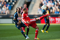 Reggie Lambe (19) of Toronto FC plays the ball. Toronto FC and the Philadelphia Union played to a 1-1 tie during a Major League Soccer (MLS) match at PPL Park in Chester, PA, on April13, 2013.