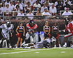 Ole Miss wide receiver Korvic Neat (28) gets away from Central Arkansas' Rojae Jackson (24) on a punt return at Vaught-Hemingway Stadium in Oxford, Miss. on Saturday, September 1, 2012. (AP Photo/Oxford Eagle, Bruce Newman)..
