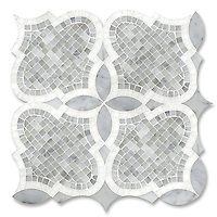 Aiden&trade;, a natural stone mosaic shown in polished and honed Carrara and polished Thassos is part of New Ravenna's Studio Line. All mosaics in this collection are ready to ship within 48 hours.<br />