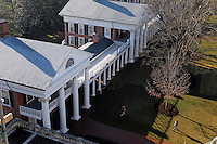 A view of the pavilions and lawn at the University of Virginia. Photo/Andrew Shurtleff