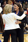 22 February 2013: Duke head coach Joanne P. McCallie (right) greets FSU head coach Sue Semrau (left) before the game. The Duke University Blue Devils played the Florida State University Seminoles at Cameron Indoor Stadium in Durham, North Carolina in a 2012-2013 NCAA Division I and Atlantic Coast Conference women's college basketball game. Duke won the game 61-50.