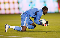 LA Galaxy goal keeper Donovan Ricketts (1) with a diving save. The LA Galaxy defeated the Philadelphia Union 1-0 at Home Depot Center stadium in Carson, California on  April  2, 2011....