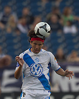 Puebla FC forward Gabriel Pereyra (8) heads the ball. The New England Revolution defeated Puebla FC in penalty kicks, in SuperLiga 2010 semifinal at Gillette Stadium on August 4, 2010.