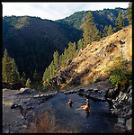 "Skinnydipper, a popular hot spring outside Boise, just after sunrise.  Scenery and a warm soak reward anyone wanting to enjoy the ""party pool"" (pictured here) the lowest and largest of all three hot springs."