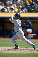 OAKLAND, CA - SEPTEMBER 10:  Norichika Aoki #8 of the Seattle Mariners bats against the Oakland Athletics during the game at the Oakland Coliseum on Saturday, September 10, 2016 in Oakland, California. Photo by Brad Mangin