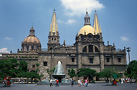 The cathedral and Plaza de la Liberacion in downtown Guadalajara, Mexico