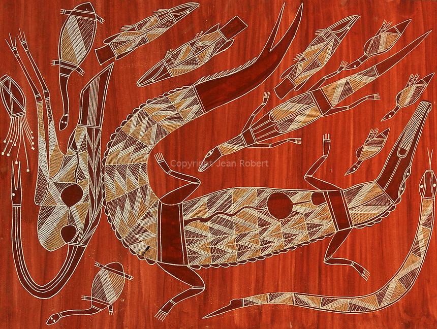 Top end australia crocodiles paradise jean robert for Peinture crocodile
